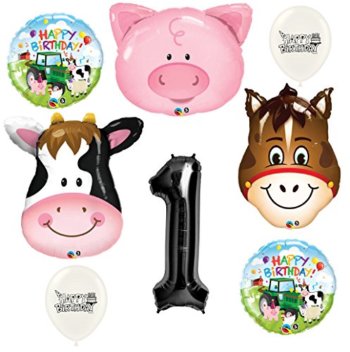 Black Number 1st Birthday Farm Animals Party Decorations Balloon Bouquet Bundle by Ballooney's