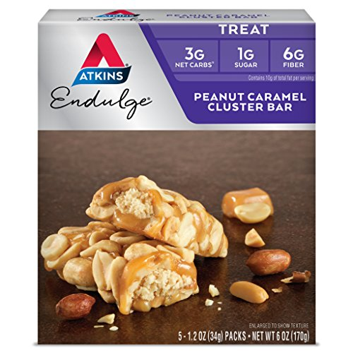 Atkins Endulge Bar Peanut Caramel Cluster -- 1.2oz 5 Bars (Chocolate Peanut Candy Bar)