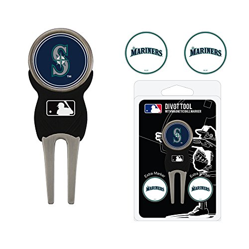 Team Golf MLB Seattle Mariners Divot Tool with 3 Golf Ball Markers Pack, Markers are Removable Magnetic Double-Sided Enamel