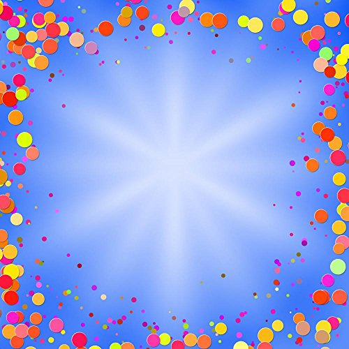 Blue Background with Brilliant Multi-colored Confetti Vector Il Wall Decal - 24 Inches H x 24 Inches W - Peel and Stick Removable Graphic