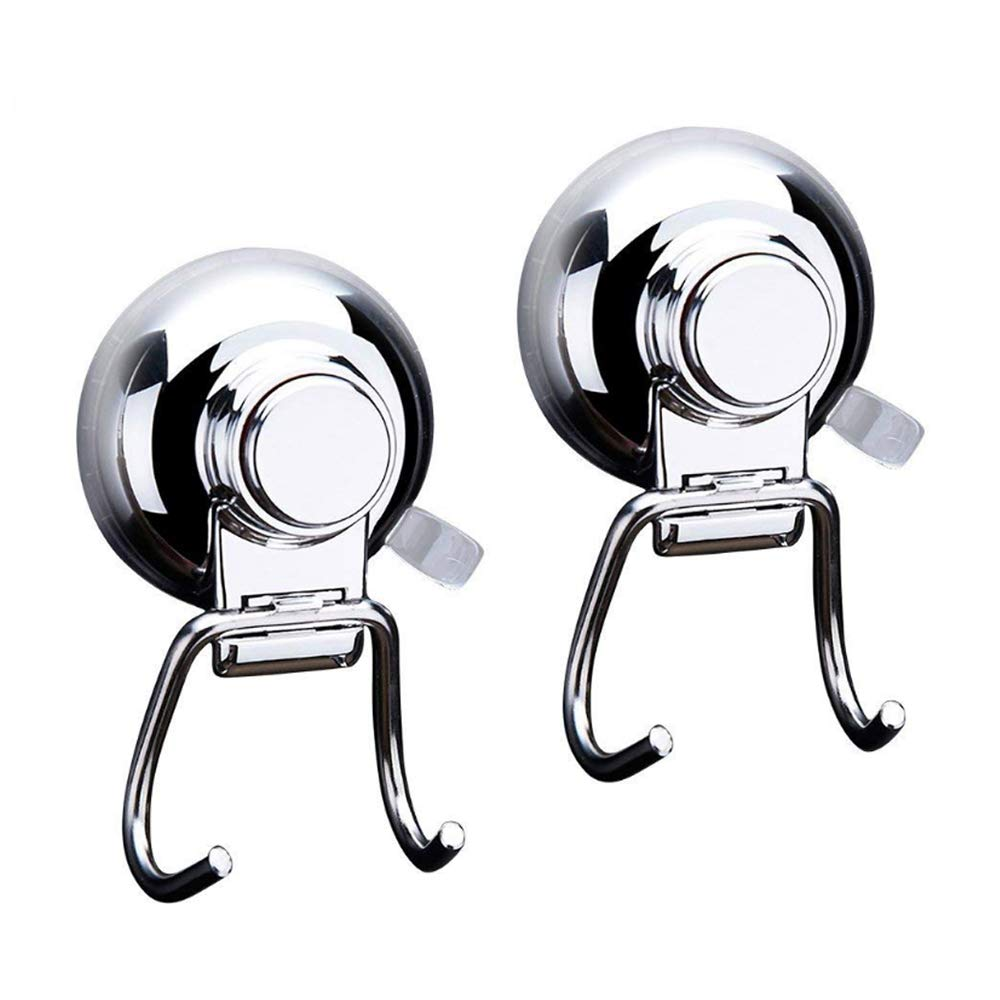 Suction Cup Hook - Shower Hooks Kitchen Towel Suction Hooks Bathroom Wreath Hanger Vacuum Suction Wall Hook Holder - Bathroom and Kitchen, Towel Hanger Storage, Chrom(2 Pack)