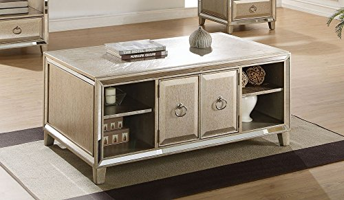 Acme Furniture 81200 Voeville Coffee Table with Lift Top, Antique Gold
