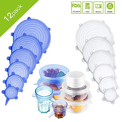 12 PCS Silicone Stretch Lids Reusable, Kitchen Airtight Food Storage Covers, 6 Sizes Seal Bowl Stretchy Wrap Cover, Keep Food Fresh for Containers, Cups, Cans,Plates, Microwave, Dishwasher Safe