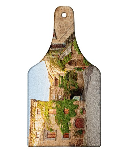 Lunarable Tuscan Cutting Board  Village Houses With Colorful Flowers Outside In Burano Village Venice Italy Image  Decorative Tempered Glass Cutting And Serving Board  Wine Bottle Shape  Ivory Green