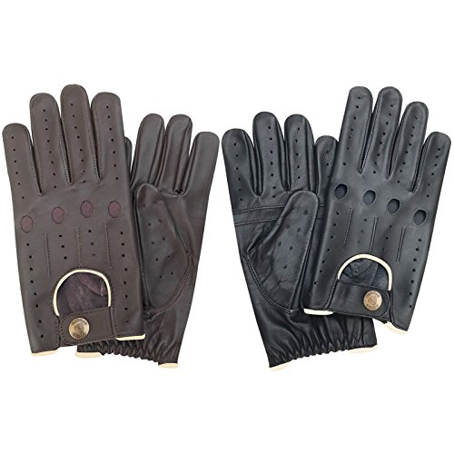 MENS SLIM FIT LEATHER DRIVING GLOVES SOFT BLACK LEATHER