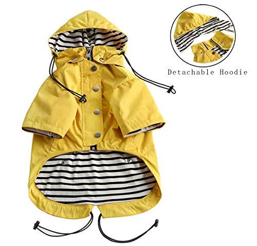 (Stylish Premium Dog Raincoats - Dog Wear Yellow Zip Up Dog Raincoat with Reflective Buttons, Pockets, Rain/Water Resistant, Adjustable Drawstring, Removable Hood)