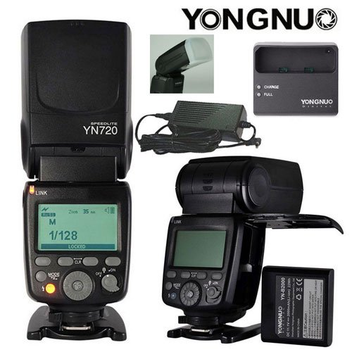 YONGNUO YN720 Flash Lithium Ion Battery Portable for Nikon Canon Olympus Sony Fujifilm Cameras USA Model With Flash Diffuser by YONGNUO