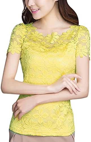 ZANZEA Women Sexy Lace Chiffon Elegant Short Sleeve Flowers T Shirt Blouse Tops