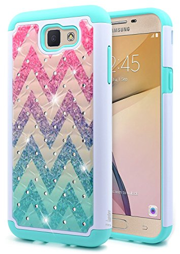 Galaxy J7 Sky Pro Case, Galaxy J7 Prime / J7 Perx / Halo / J7 V (Verizon) / J7V Case, NageBee [Glitter Shiny Diamond] Armor Cover w/ [Studded Rhinestone Bling] Case For Samsung J7 2017 (J727) - Wave