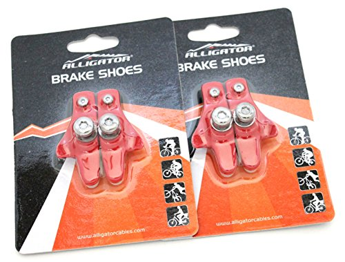 Alligator Bike Road Brake Cartridge Compatible Shoes Pads with Shimano Dura Ace/Ultegra/105/Sram for Alloy Rims (2 Pair), Red ()