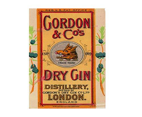 Gordon Dry London Gin Pub Bar Man Cave Metal Advertising Wall Plaque Sign 8 X 12 in ()