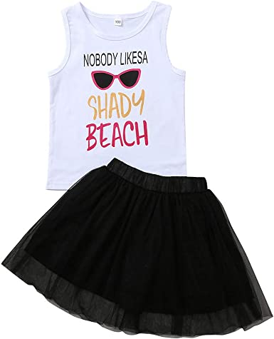 Toddler Kids Baby Girls Sleeveless Vest T-shirt Tops+Floral Princess Skirt Set