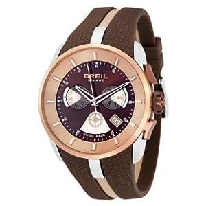 Breil WATCH MILANO CHR GENT IP PINK CASE BROWN STRAP BW0431 - Reloj de caballero de cuarzo, correa de goma color marrón (con cronómetro)
