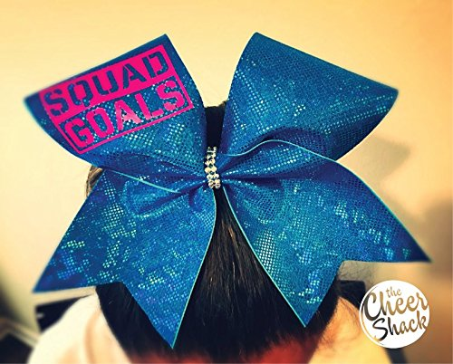 Squad Goals Blue Glitter Bow, Cheer Bow, Hair Bow - Image 1