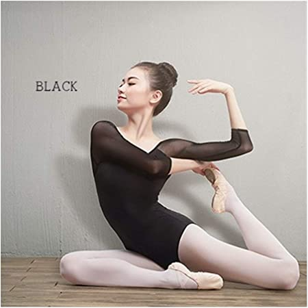 YUANYUAN520 Ballet Niñas Adultos Leotardos Spandex Danza Algodón Negro del Desgaste 3/4 Mangas De Malla De Gimnasia Leotardo For Las Mujeres (Color : Black, Size : M 155cm to 160cm): Amazon.es: Hogar