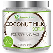 Amazon Lightning Deal 87% claimed: Coconut Milk Body Scrub 12 oz For Face & Body, 100% Natural By Premium Nature