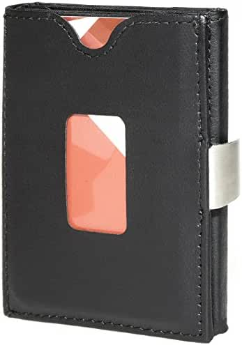 TriHOLD Ultimate Trifold Black Leather Card Wallet for Men and Women - Perfect for Credit Cards, ID Cards, Drivers Licenses, and Bills