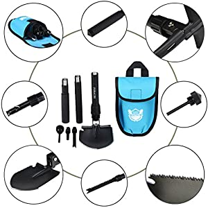 Military Survival Folding Shovel and Pick with Carrying Pouch for Camping, Hiking, Backpacking, Fishing, Tactical Army Surplus Multitool, Trench Entrenching Tool, Car Emergency Shovel