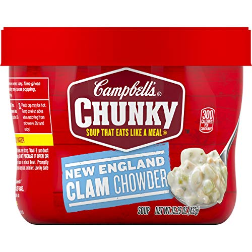 New England Clam Chowder - Campbell's Chunky New England Clam Chowder, 15.25 oz. Bowl (Pack of 8)