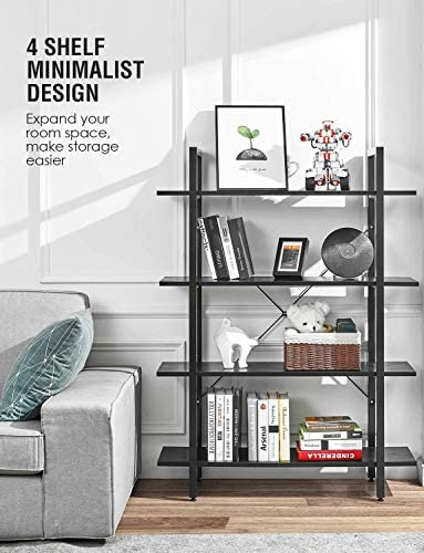 ORAF Black Bookshelf 4-Tier Bookcase, Office Shelves, Solid 130lbs Shelf Load Capacity, Industrial Display Rack Wood Metal Storage Shelving