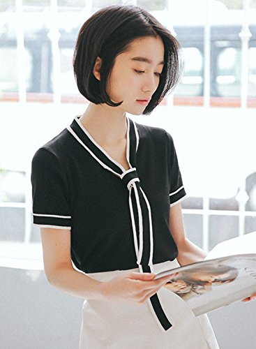 Sleeve Tie Pullover Bow Collar Women's Short Achicgirl White Blouse RfqHwH