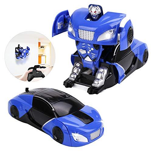 Jellydog Toy Remote Control Car, Transform Wall Climber Car, 360 Rotating RC Car, Led Intelligent RC Car with LED Head, Light USB Cable for Boys Girls Age 8+,Blue
