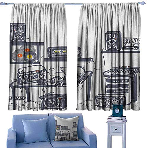 Modern Outdoor Curtains Recording Studio with Music Devices Turntable Records Speakers Digital Illustration,Print Picture Drapes for Living Room,W72 x L84 Inch