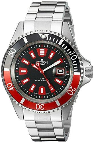 Croton Mens Quartz Watch - CROTON Men's CA301282BKRD Analog Display Quartz Silver Watch