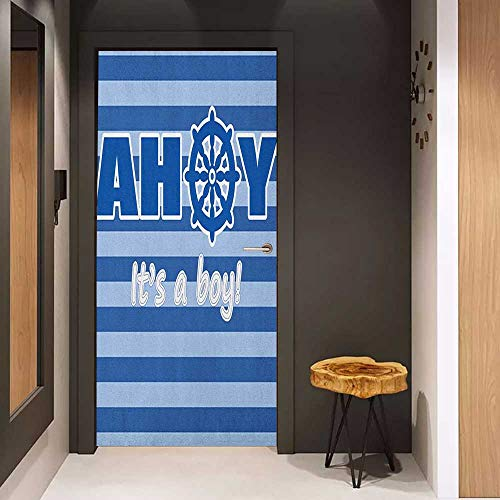Onefzc Automatic Door Sticker Ahoy Its a Boy Baby Shower New Birth Announcement Marine Wheel Striped Backdrop Easy-to-Clean, Durable W31 x H79 Pale Blue Blue White
