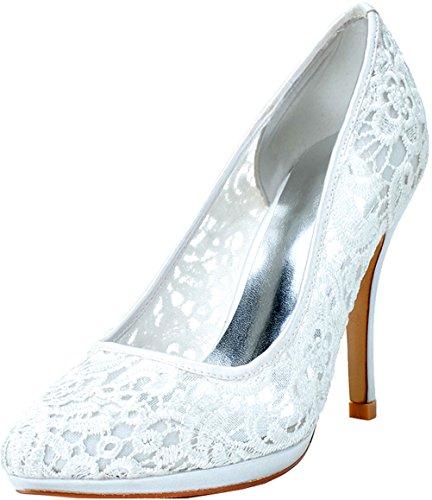 Arbeit Spitz Nachtclub OL Hochhackige 20 Braut Weiß Job Hochzeit Salabobo Spitze Pumps Plattform Komfort 0255 Damen xwaf1qYv