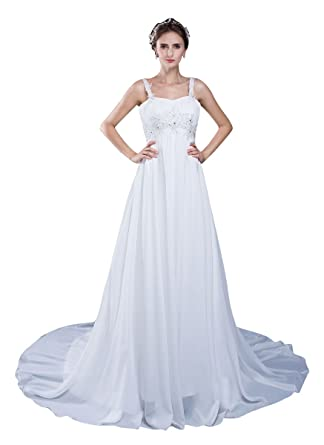 Beauty Emily Lace Spaghetti Strap Chapel Train Wedding Dresses White