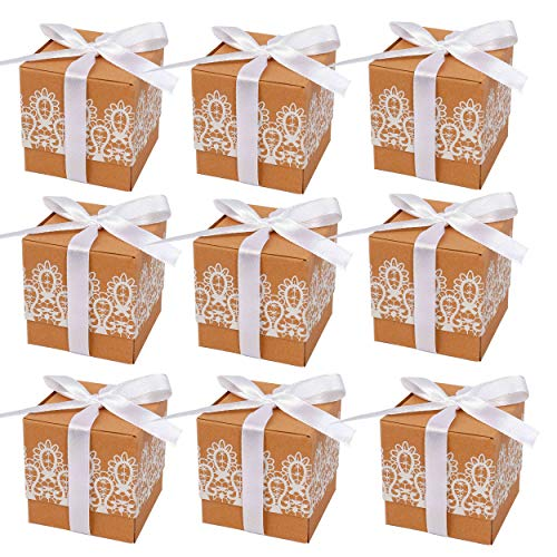 Kraft Gift Box, Rustic Wedding Candy Boxes with Lace Ribbon 50pcs Vintage Paper Thank You Treat Box Kit with Ribbon for Party Favors Baby Shower Birthday Supplies ()