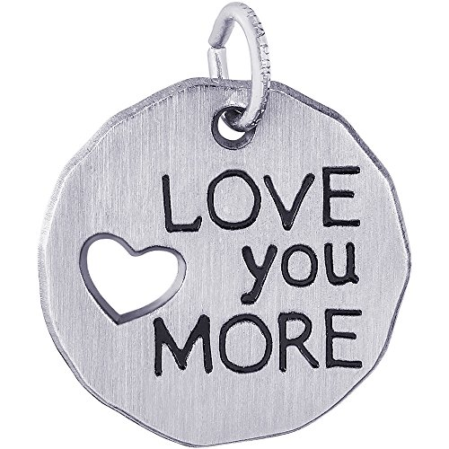 Cut Out Heart Charm (Rembrandt Charms Sterling Silver Love You More Heart Cutout Charm (18 x 18 mm))