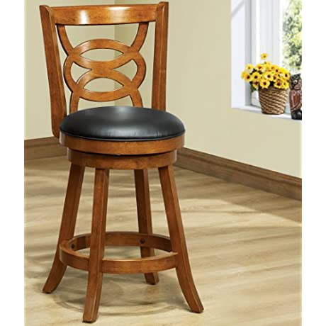 Monarch Specialties Solid Wood High Swivel Counter Stool 39 Inch Oak