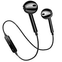 Bluetooth Headphones, Wireless Headphones Bluetooth V4.2 Earbuds Mic Stereo Earphones Noise Cancelling Sweat Proof Sports Headset-Black-01