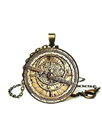Steampunk Astrolabe (Image Under Glass) Cabochon Pendant Necklace