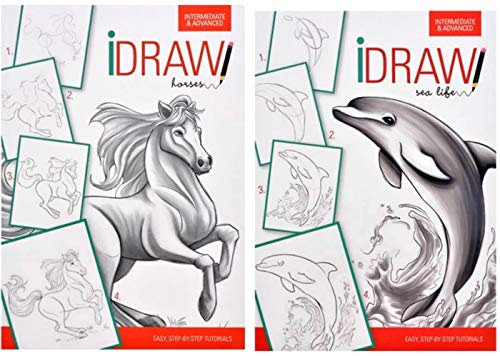 PROSPERITY DEVINE How to Draw SEA Life & Horses ( Great White Shark, Dolphin, Clown Fish, SEA Turtle, Octopus, Horse Head Portrait, Shetland Pony, Paint Horse, Clydesdale, Galloping Horse ()