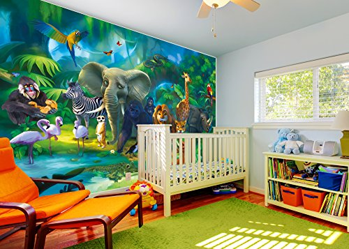 Jungle animals photo wall paper safari mural xxl jungle for Decor mural xxl