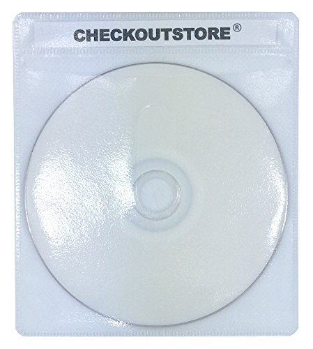 CheckOutStore (500) Premium CD Double-Sided Storage Plastic Sleeve (White) Double Sided White Refill Sleeve
