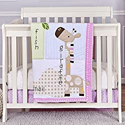 Dream On Me 3 Piece Reversible Portable Crib Bedding Set, Jungle Friends