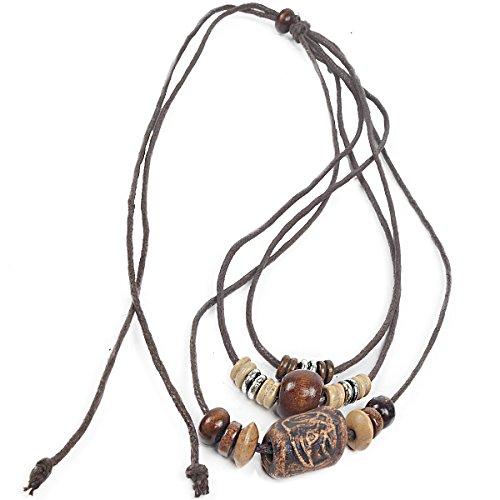 FORBUSITE Men Pendant Bead Surfer Choker Hemp Necklace Stylish Tribal N122 Handmade (N121-Triple)