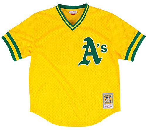 Mitchell & Ness Rickey Henderson Gold Oakland Athletics Authentic Mesh Batting Practice Jersey X-Large (48) (Authentic Mlb Jersey Practice Batting)