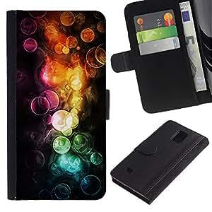 """A-type (Acuarelas"""") Colorida Impresión Funda Cuero Monedero Caja Bolsa Cubierta Caja Piel Card Slots Para Samsung Galaxy Note 4 IV"""