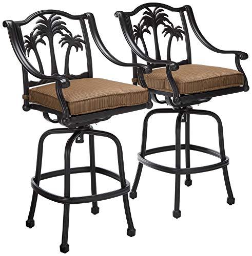 Palm Tree Cast Aluminum Powder Coated Barstool - Set of 2 - Antique Bronze (Aluminum Bar Chairs)