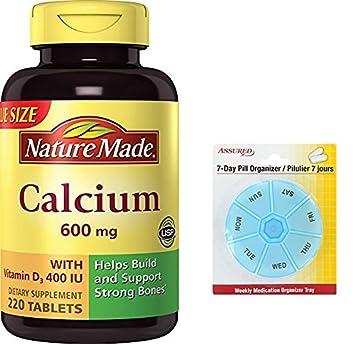 Naturaleza hecha de calcio 600 Mg, vitamina D3, valorar el tamaño y cantidad de