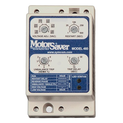 SymCom MotorSaver 3-Phase Voltage Monitor, Model 460-L, 190-480V, Fixed Unbalance and Trip Delay, DIN Rail (Motor Saver)