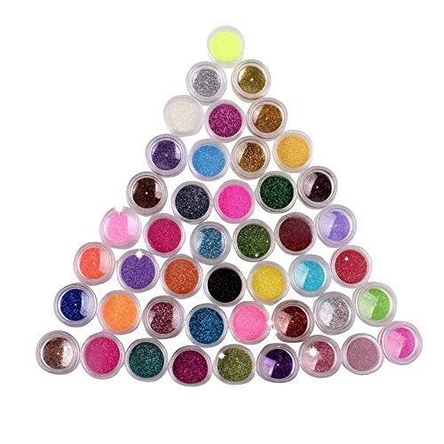 NYKKOLA 45 Colors Eyeshadow Nail Art Make Up Body Pigment Glitter Shimmer Dust Powder Decoration