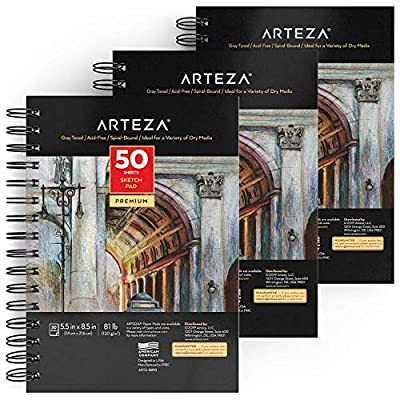 "Arteza 5.5x8.5"" Gray Sketch Pad, Pack of 3, 150 Sheets (81 lb/120gsm), Spiral Bound Artist Sketchbook, 50 Sheets Each, Durable Acid-Free Drawing Paper, Ideal for Kids & Adults"