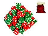 Discount Learning Supplies 50-Piece Christmas / Holiday 16 mm Red and Green Assorted Dice with Santa Storage Gift Bag