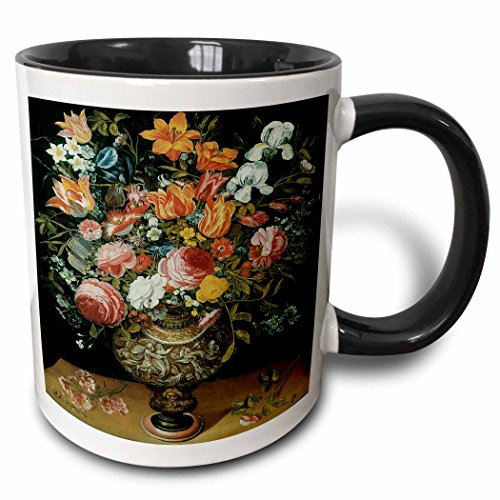 (3dRose BLN Flower Paintings Fine Art Collection - Roses, Tulips, Irises and Other Flowers in a Sculpted Urn by Andries Daniels - 15oz Two-Tone Black Mug (mug_126451_9))